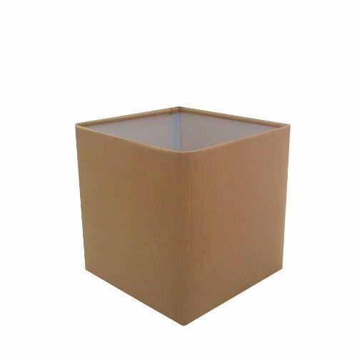 Cúpula em Tecido Quadrada Abajur Luminária Cp-4224 16/16x16cm Palha