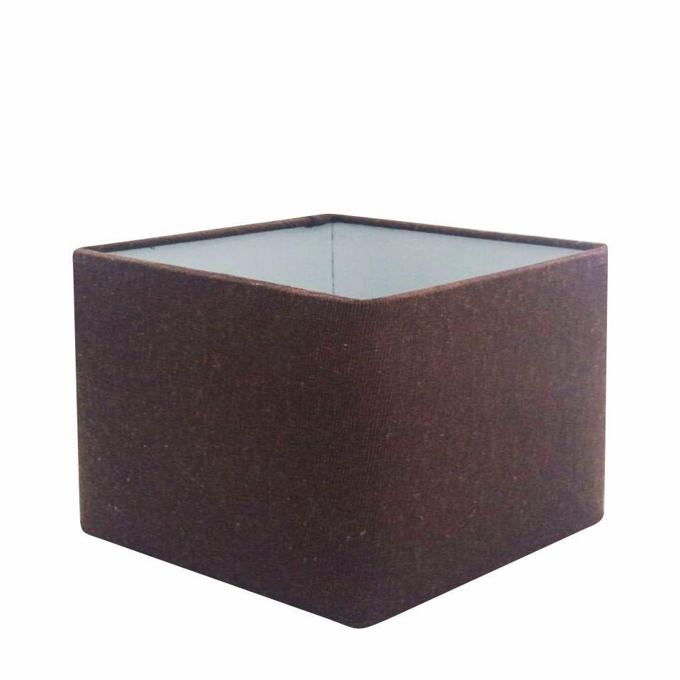 Cúpula em Tecido Quadrada Abajur Luminária Cp-4270 30/35x35cm Café