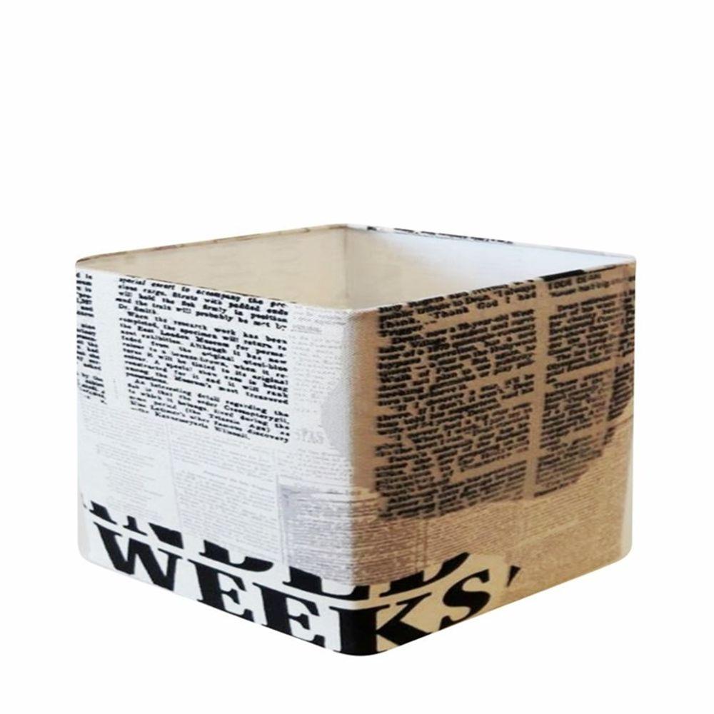 Cúpula em Tecido Quadrada Abajur Luminária Cp-4270 30/35x35cm Ny-Jornal
