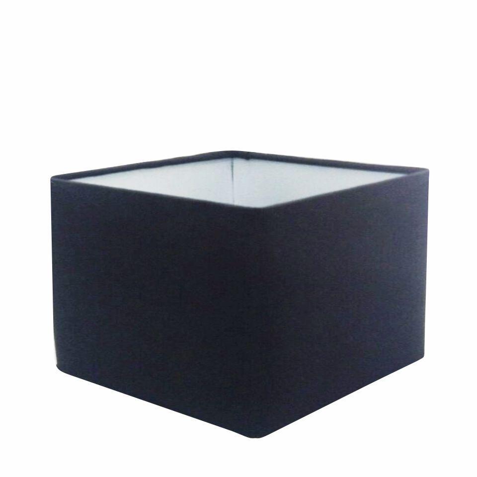 Cúpula em Tecido Quadrada Abajur Luminária Cp-4270 30/35x35cm Preto