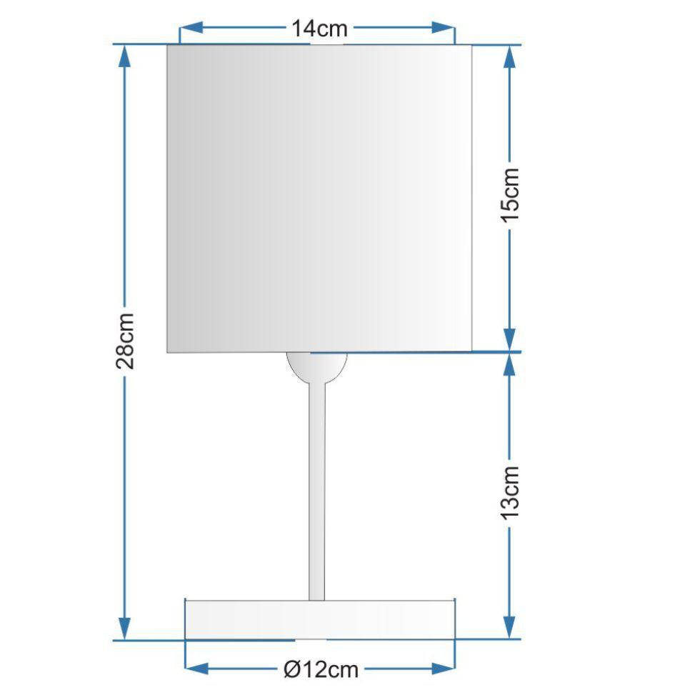 Kit/2 Abajur Quadrado de Mesa Md-2008 Base Branco Cúpula Tec 15/13x13cm Cinza - Bivolt