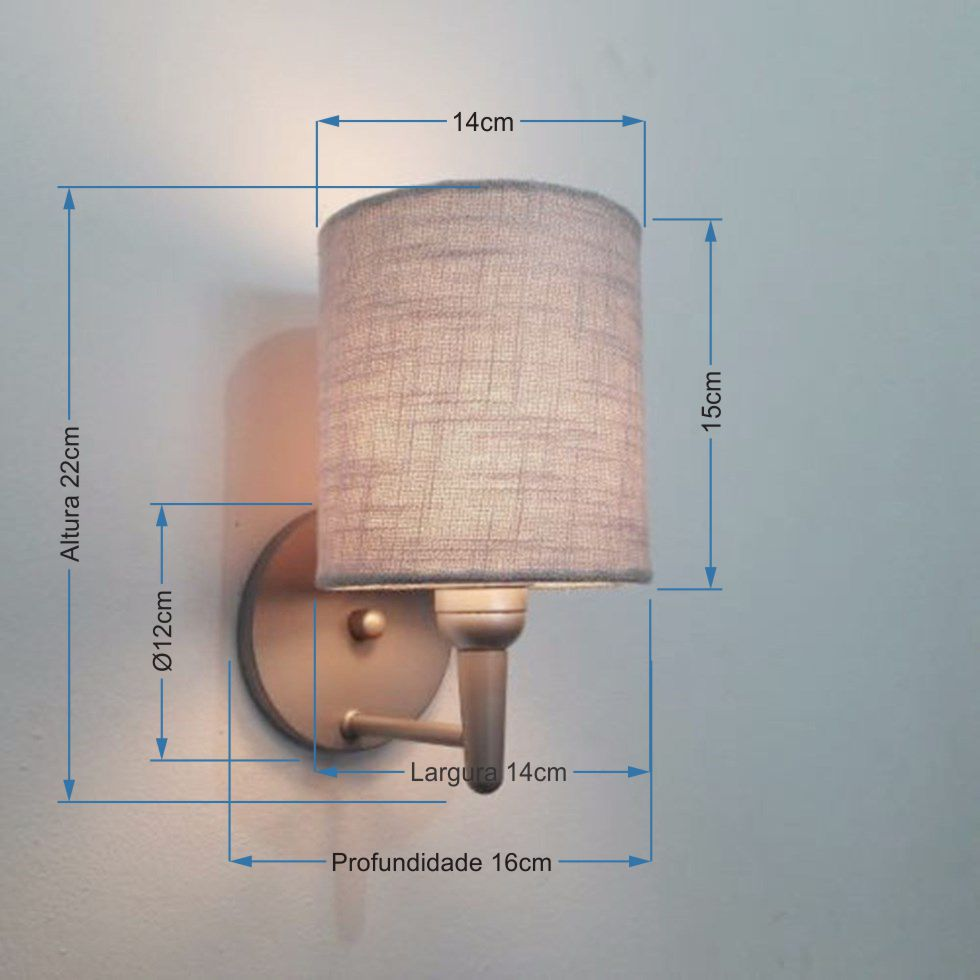 Kit/2 Arandela Cilíndrica Md-2009 Base Cinza Cúpula em Tecido 14x15cm Cinza - Bivolt