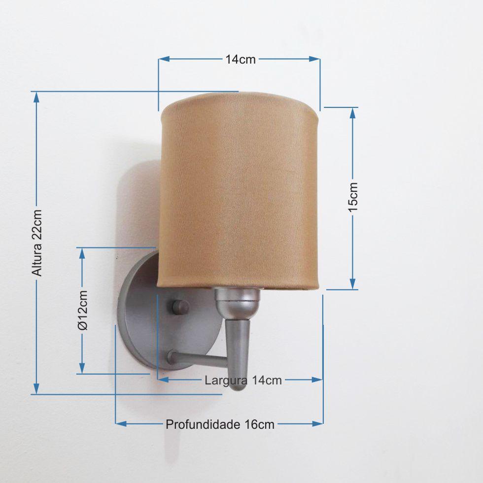 Kit/2 Arandela Cilíndrica Md-2009 Base Cinza Cúpula em Tecido 14x15cm Palha - Bivolt