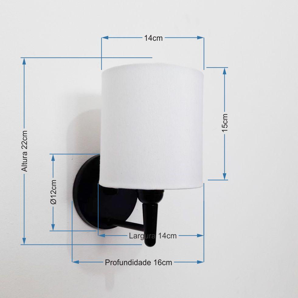 Kit/2 Arandela Cilíndrica Md-2009 Base Preto Cúpula em Tecido 14x15cm Branco - Bivolt
