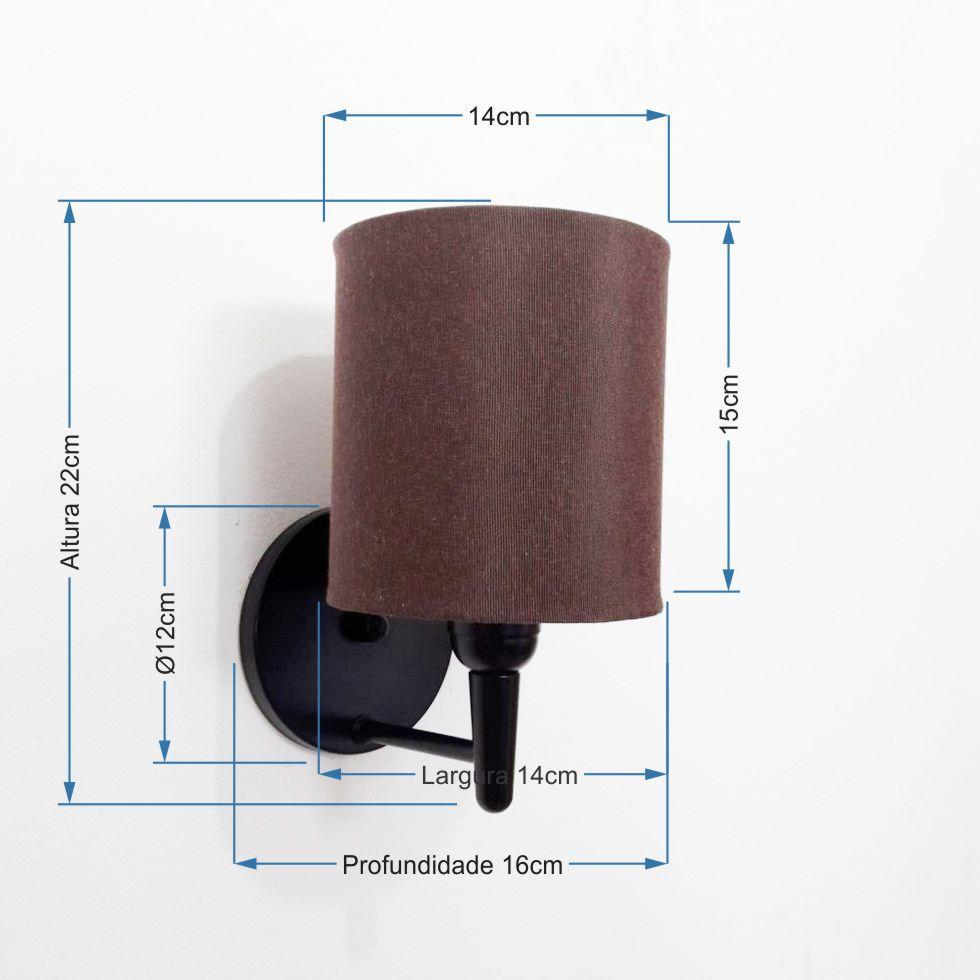 Kit/2 Arandela Cilíndrica Md-2009 Base Preto Cúpula em Tecido 14x15cm Café - Bivolt