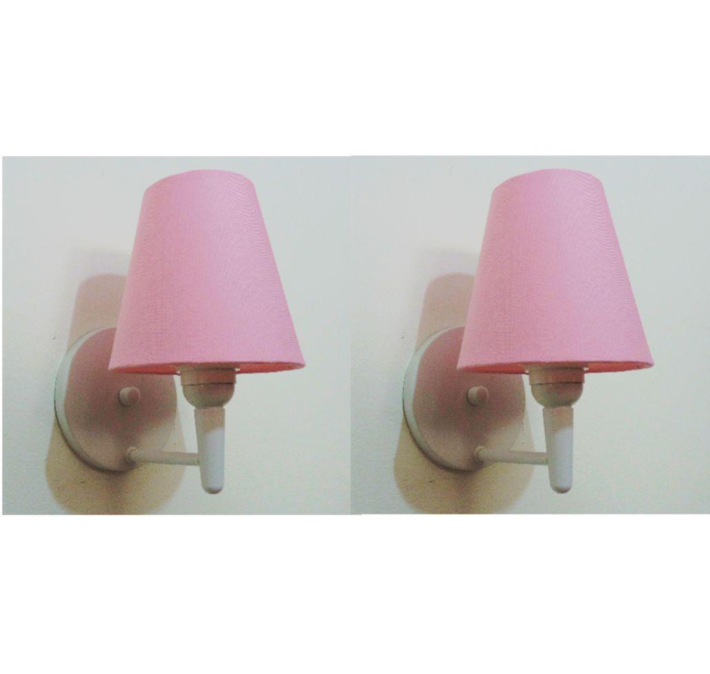 Kit/2 Arandela Cone Md-2004 Base Branco Cúpula em Tecido 14/14x07cm Rosa Bebê - Bivolt