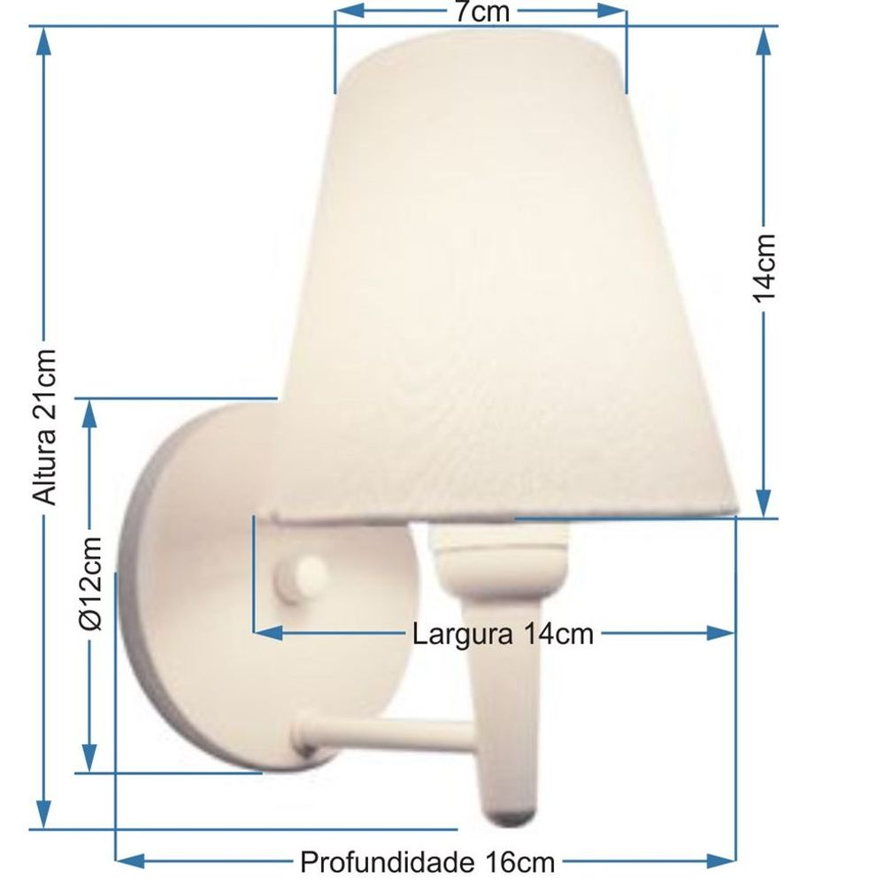 Kit/2 Arandela Cone Md-2004 Base Branco Cúpula em Tecido 14/14x07cm Preto - Bivolt