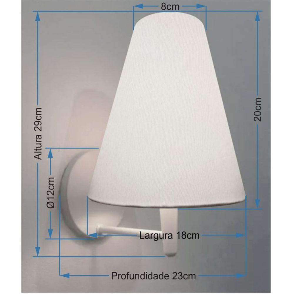 Kit/2 Arandela Cone Md-2007 Base Branco Cúpula em Tecido 20/08x18cm Linho Bege - Bivolt