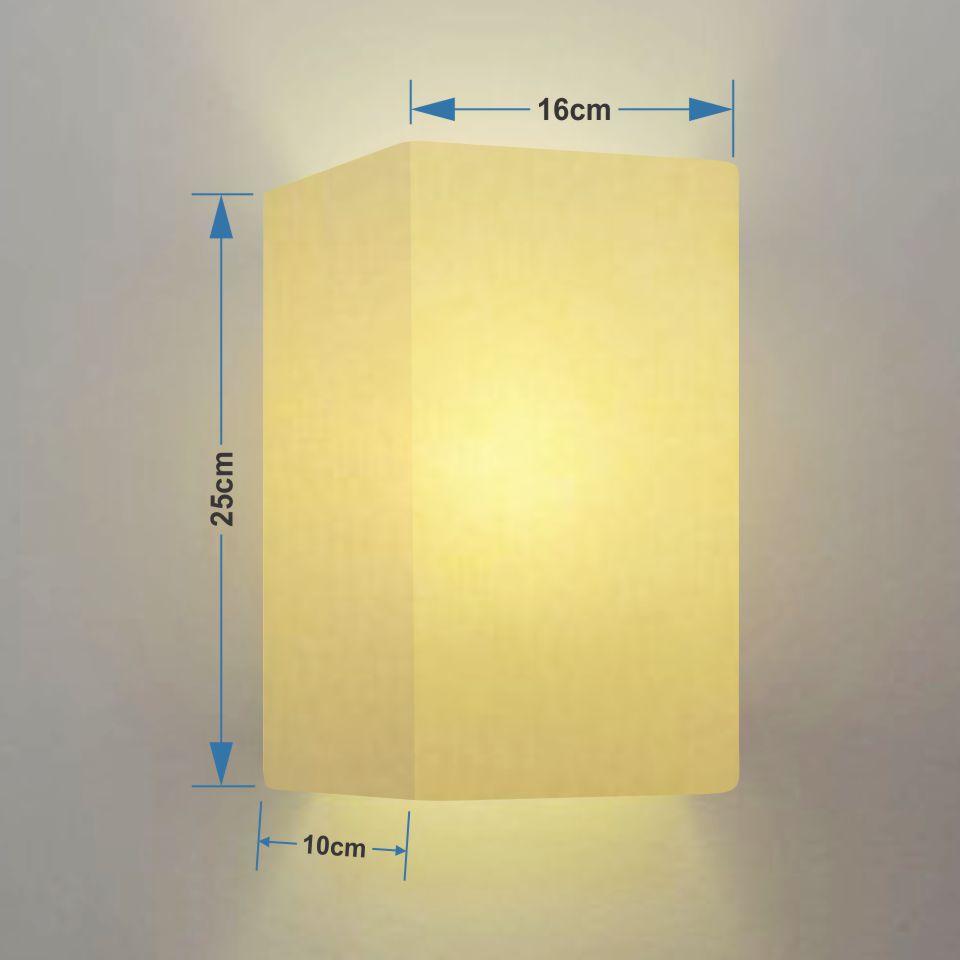Kit/2 Arandela Retangular Retro Md-2002 Cúpula Tecido 25/16x10cm Algodão Crú