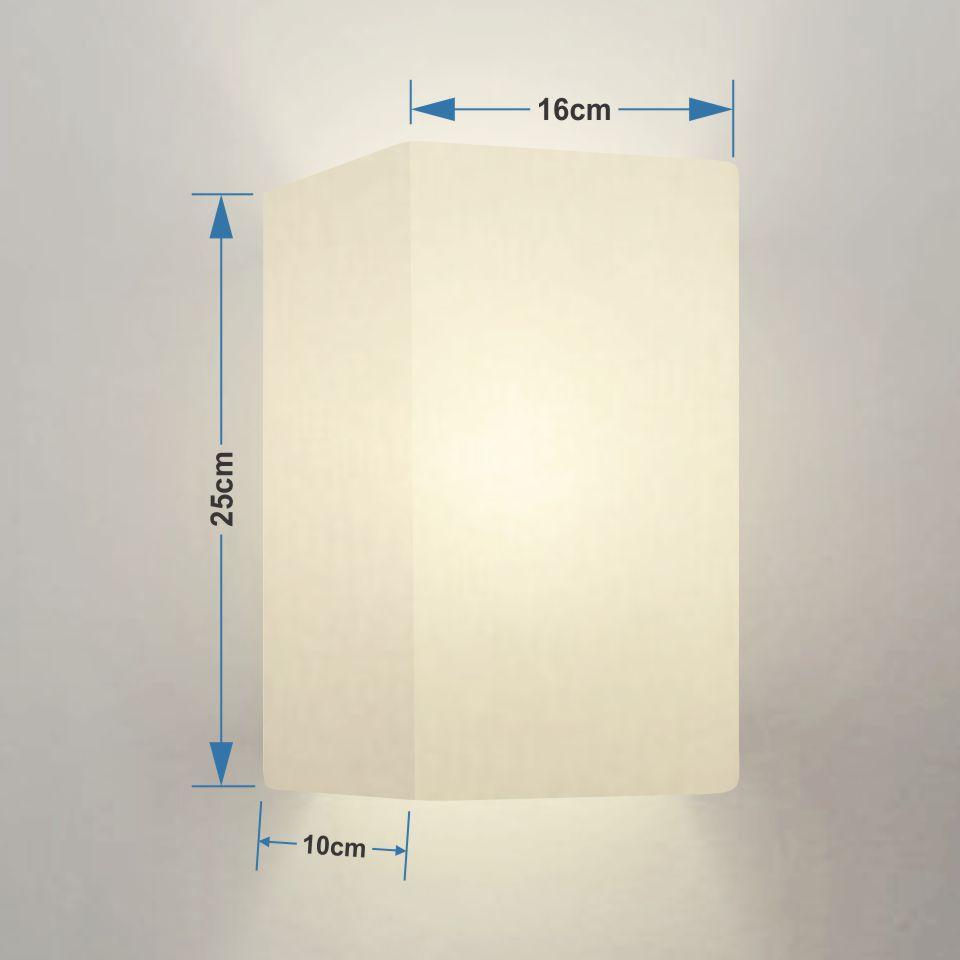 Kit/2 Arandela Retangular Retro Md-2002 Cúpula Tecido 25/16x10cm Branco