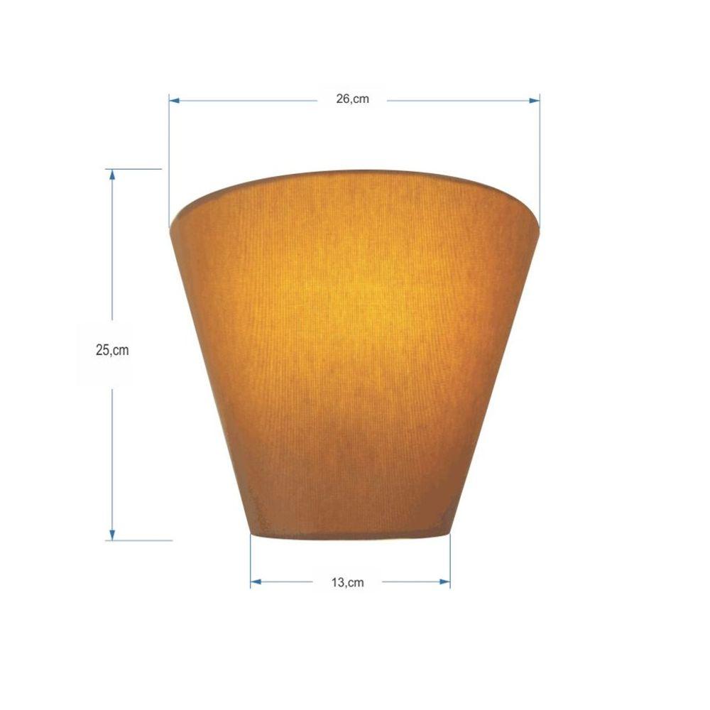 Kit/2 Arandela Retro Cone Md-2001 Cúpula em Tecido 25/26x13cm Palha - Bivolt