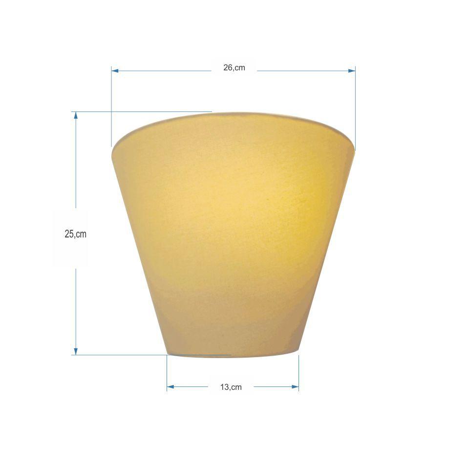 Kit/2 Arandela Retro Cone Md-2001 Cúpula em Tecido 25/26x13cm Algodão Crú - Bivolt