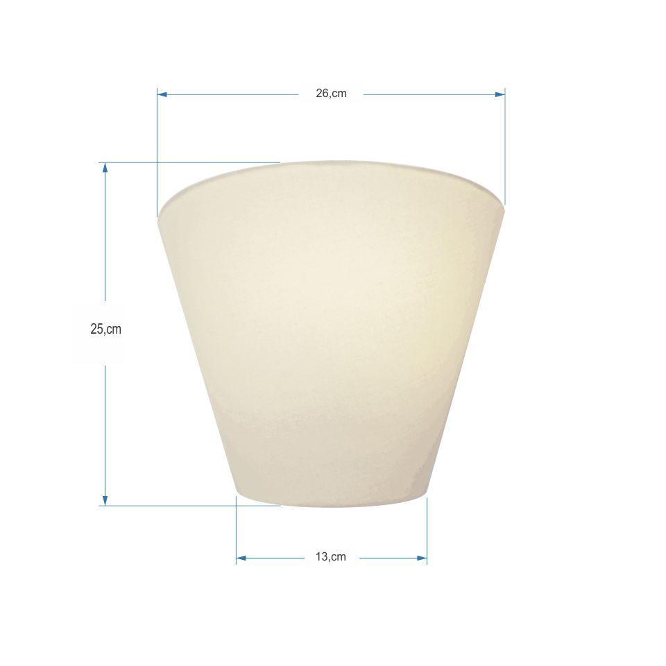 Kit/2 Arandela Retro Cone Md-2001 Cúpula em Tecido 25/26x13cm Branco - Bivolt