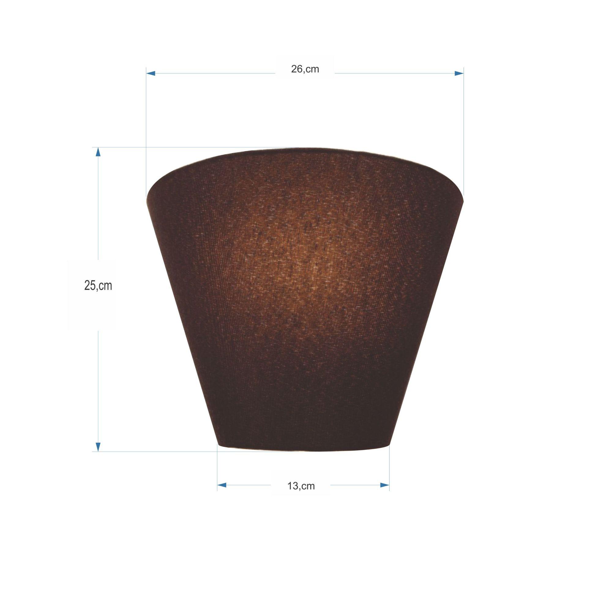 Kit/2 Arandela Retro Cone Md-2001 Cúpula em Tecido 25/26x13cm Café - Bivolt
