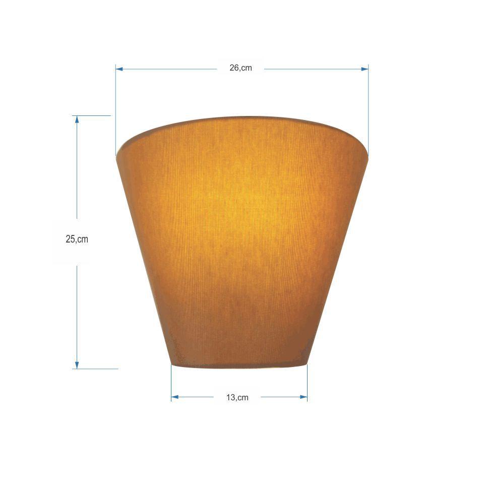 Kit/2 Arandela Retro Cone Md-2001 Cúpula Tecido 25/26x13cm Palha