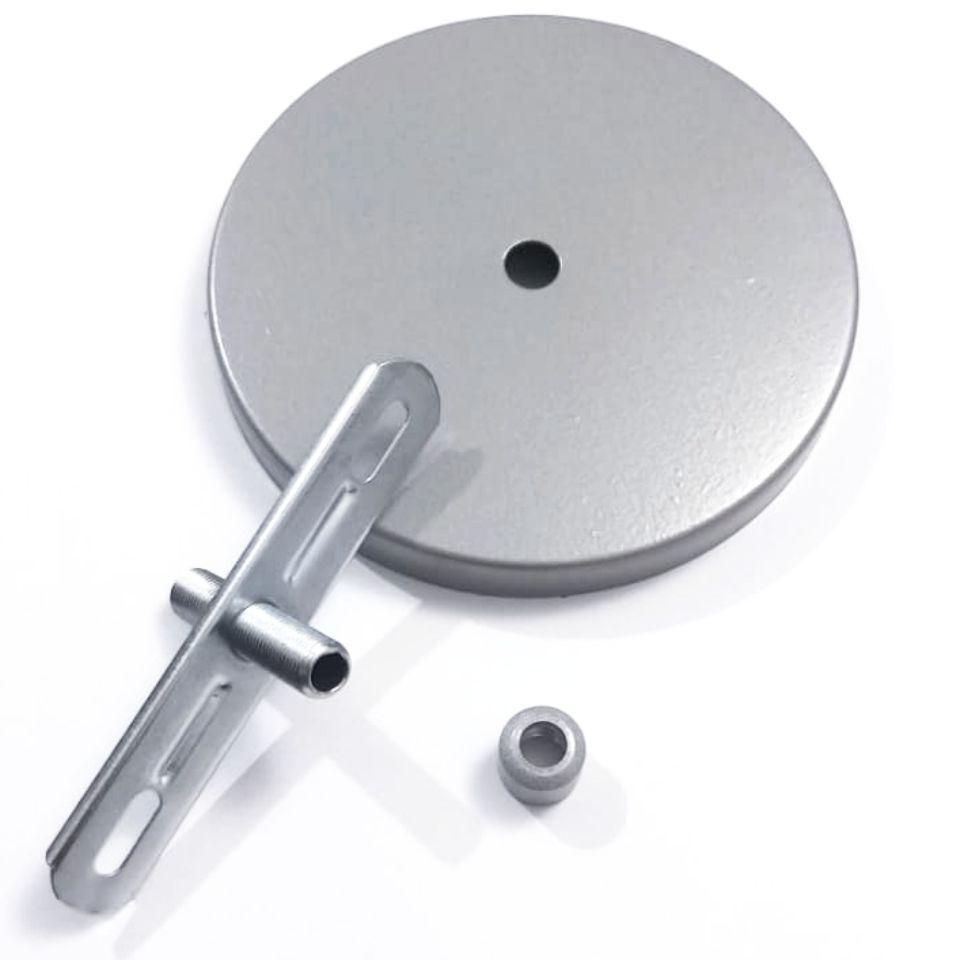 Kit/2 Canopla Lustre Pendente Cilíndrica Vivare Md-1004 11x1,2cm Prata