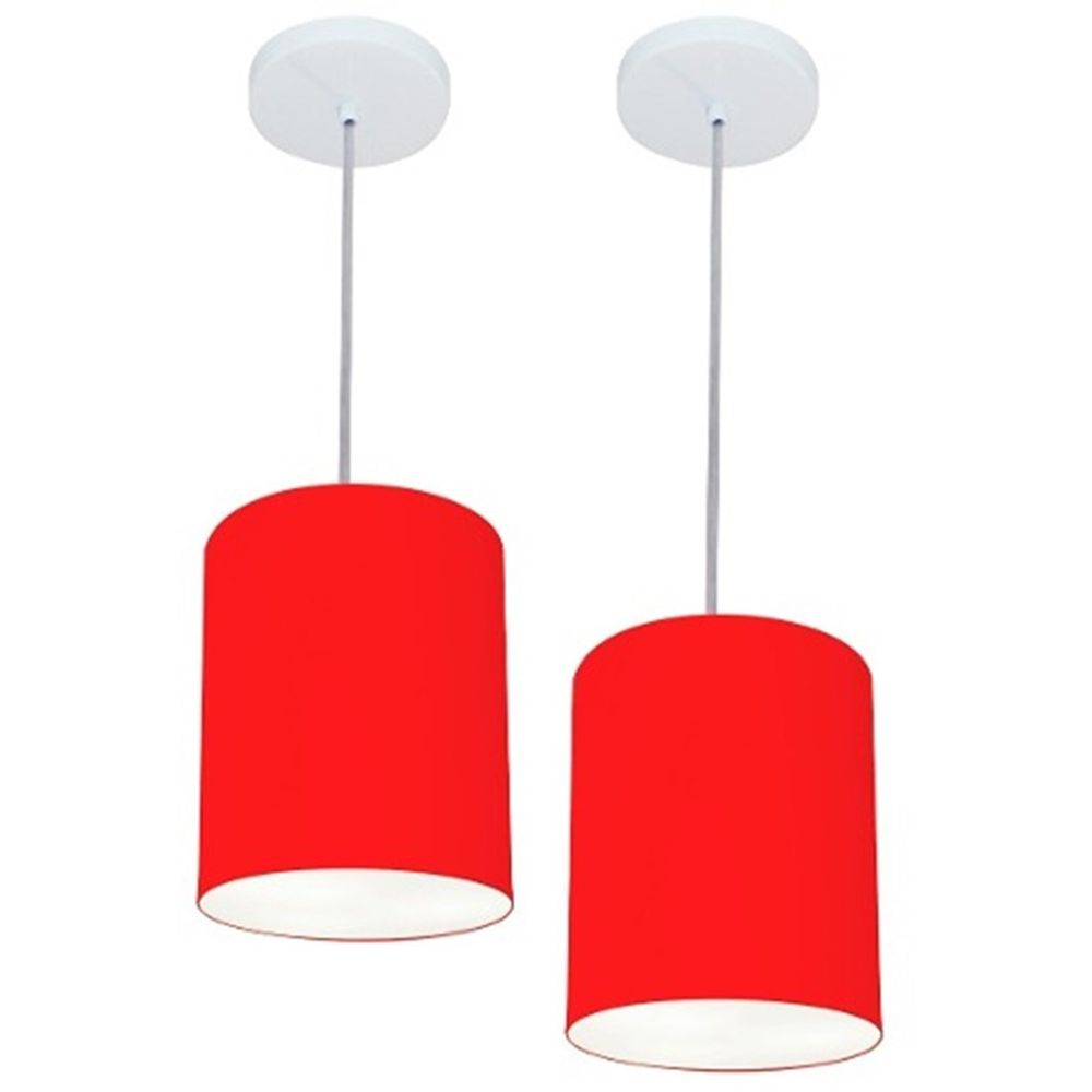 Kit/2 Lustre Pendente Cilíndrico Md-4012 Cúpula em Tecido 18x25cm Vermelho - Bivolt