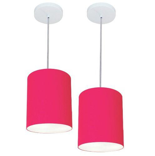 Kit/2 Lustre Pendente Cilíndrico Md-4012 Cúpula em Tecido 18x25cm Rosa Pink - Bivolt