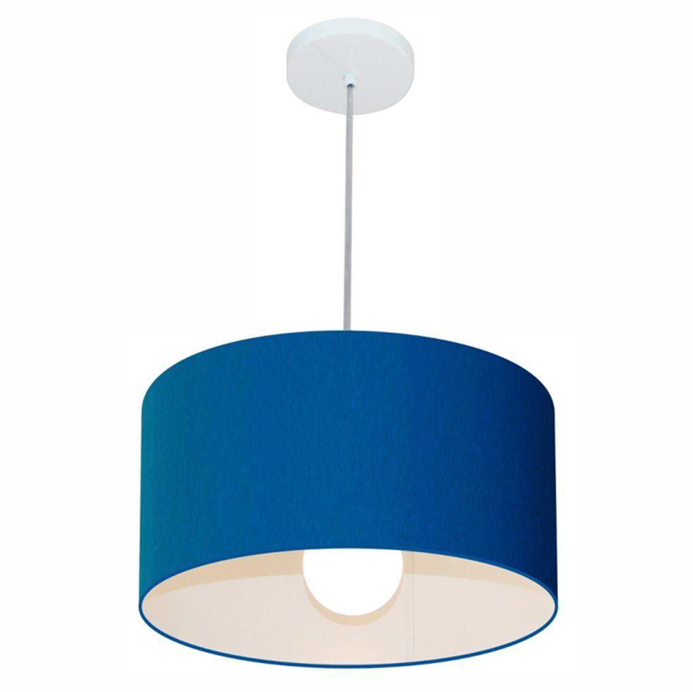 Kit/2 Lustre Pendente Cilíndrico Md-4031 Cúpula em Tecido 40x21cm Azul Marinho - Bivolt