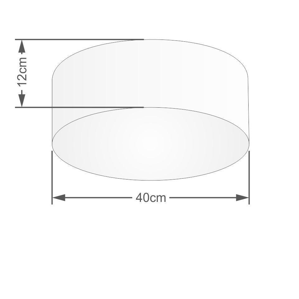 Kit/2 Plafon Cilíndrico Md-3005 Cúpula em Tecido 40x12cm Algodão Crú - Bivolt