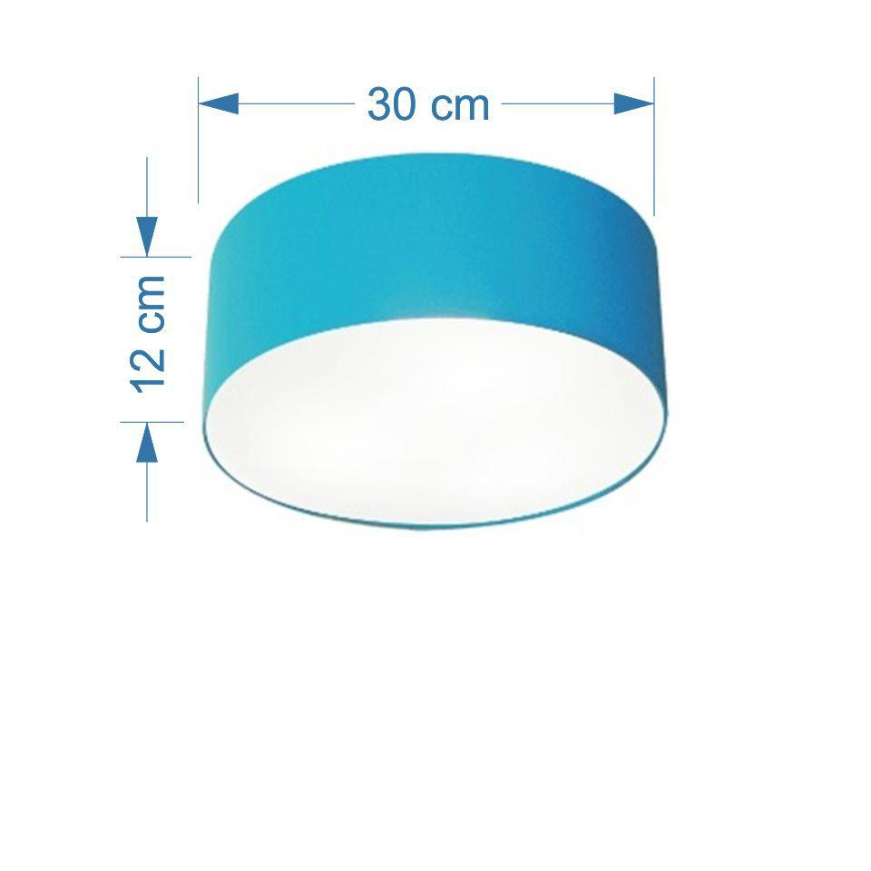 Kit/2 Plafon Cilíndrico Md-3010 Cúpula em Tecido 30x12cm Azul Turquesa - Bivolt