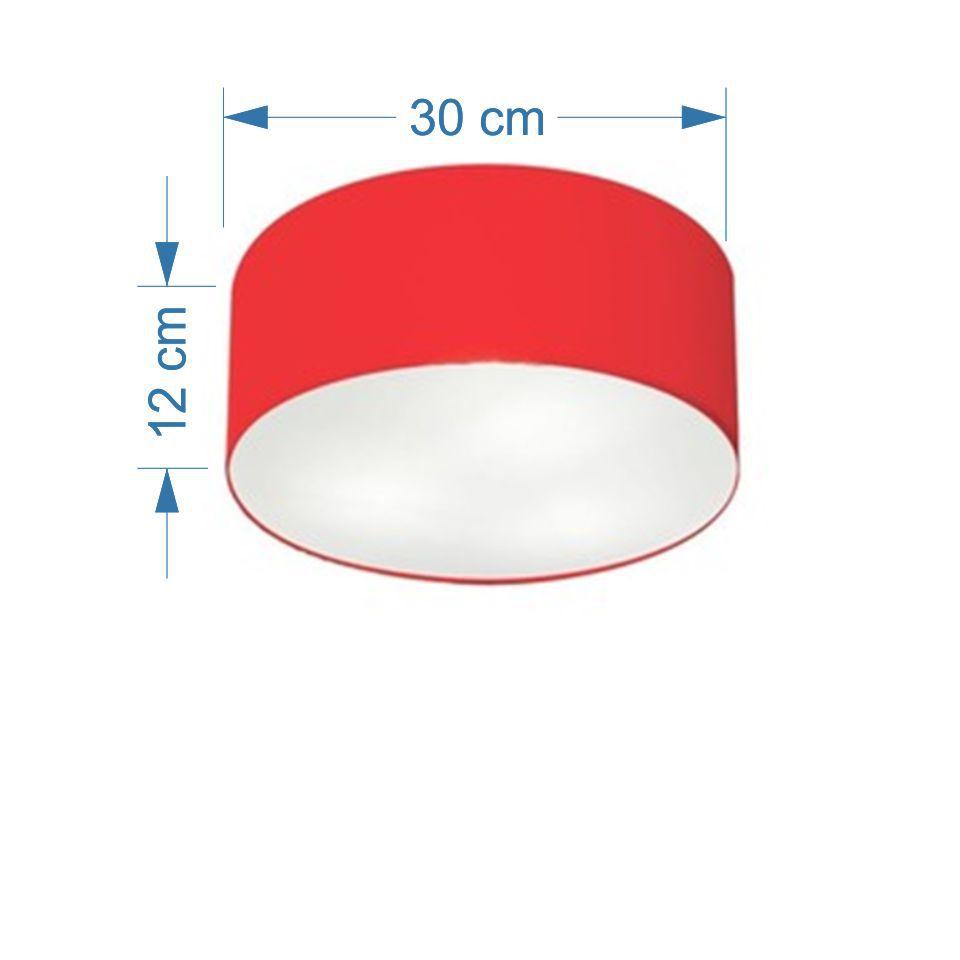 Kit/2 Plafon Cilíndrico Md-3010 Cúpula em Tecido 30x12cm Vermelho - Bivolt
