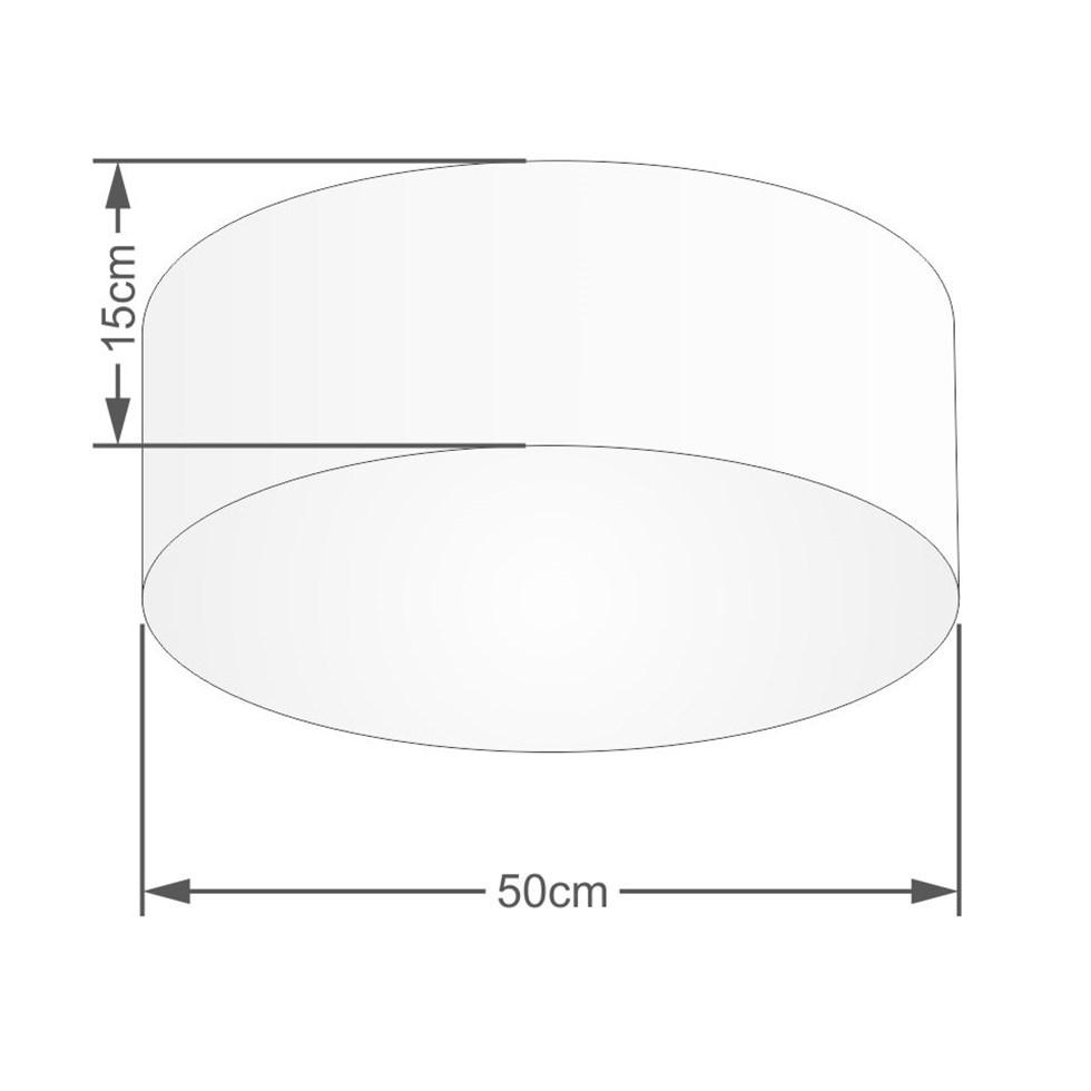 Kit/2 Plafon Cilíndrico Md-3014 Cúpula em Tecido 50x15cm Preto - Bivolt