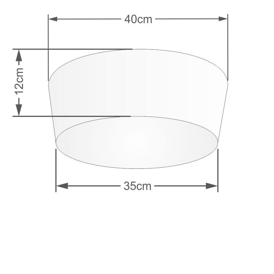 Kit/2 Plafon Cone Md-3003 Cúpula Tecido 12/40x35cm Algodão Crú