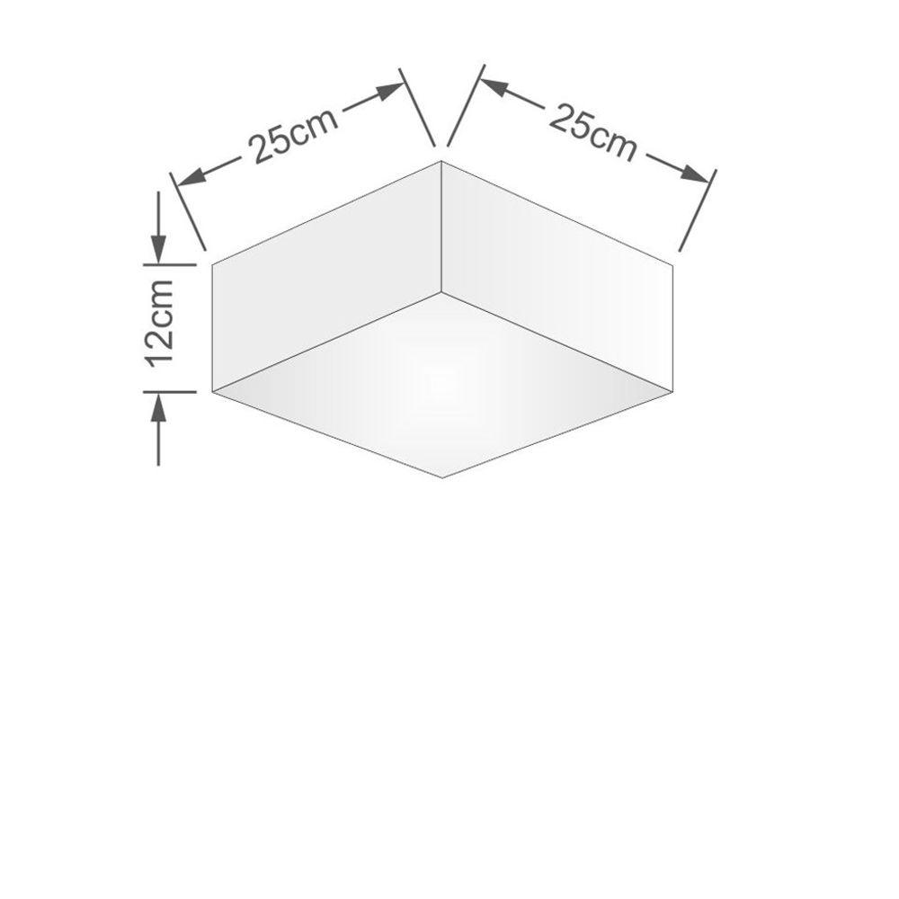 Kit/2 Plafon Quadrado Md-3000 Cúpula em Tecido 12/25x25cm Algodão Crú - Bivolt