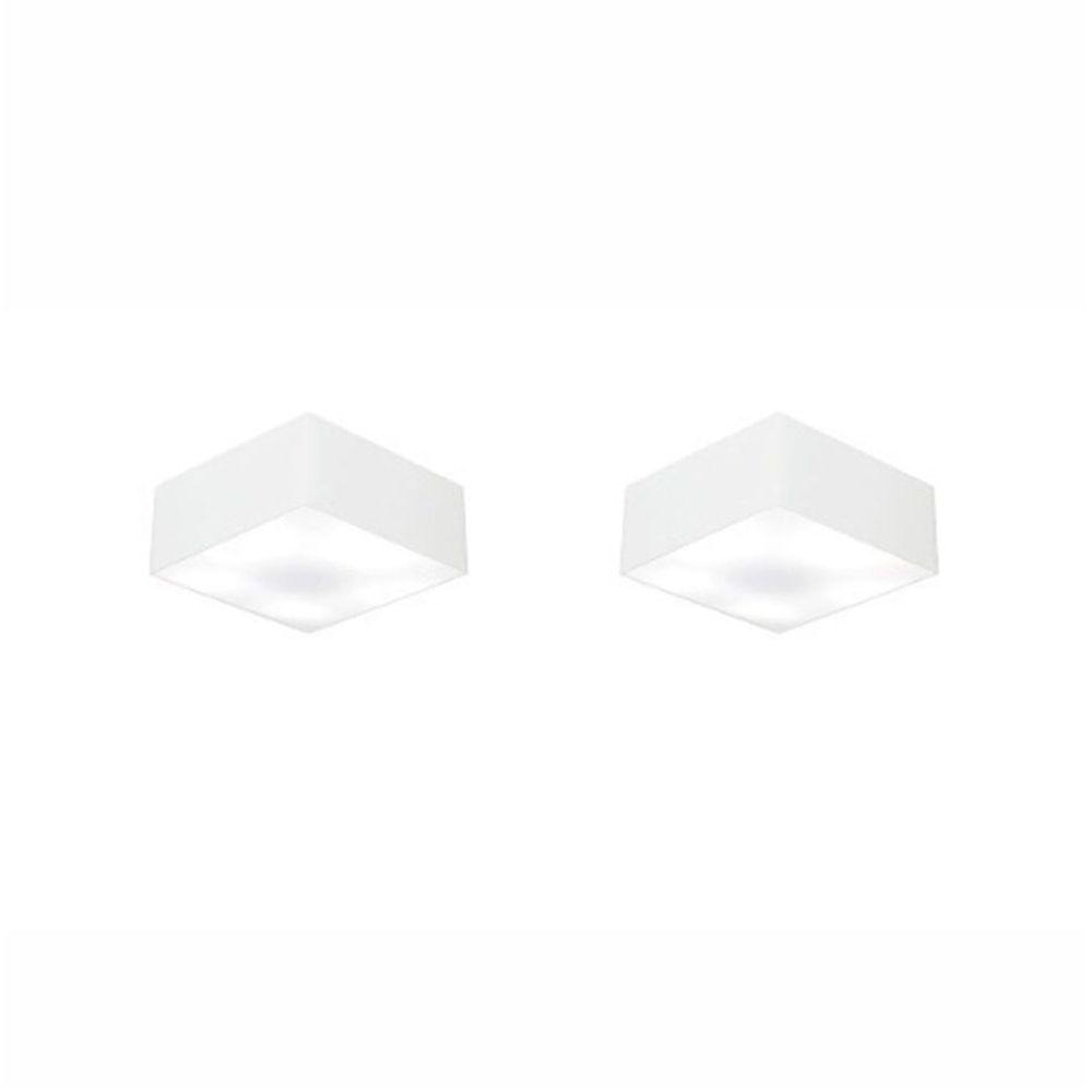 Kit/2 Plafon Quadrado Md-3000 Cúpula em Tecido 12/25x25cm Branco - Bivolt