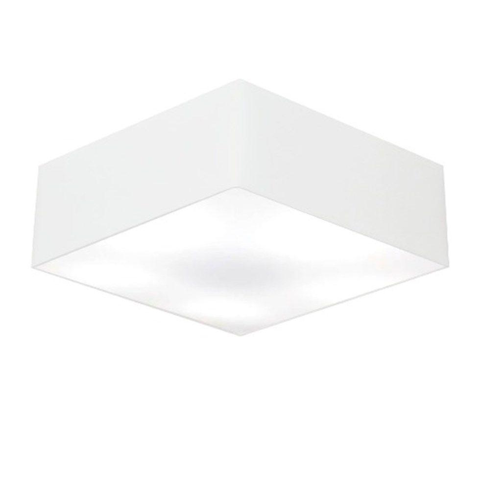 Kit/2 Plafon Quadrado Md-3002 Cúpula em Tecido 15/50x50cm Branco - Bivolt