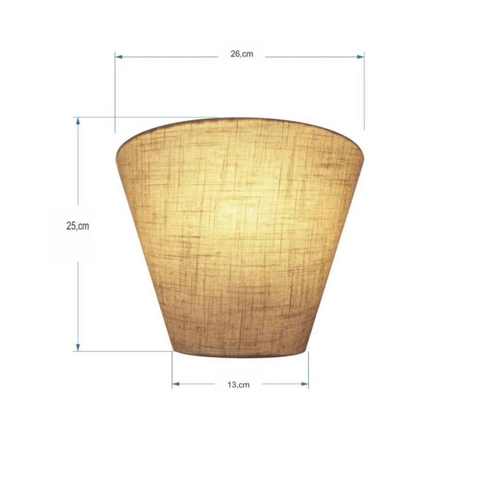 Kit/3 Arandela Retro Cone Md-2001 Cúpula em Tecido 25/26x13cm Rustico Bege - Bivolt