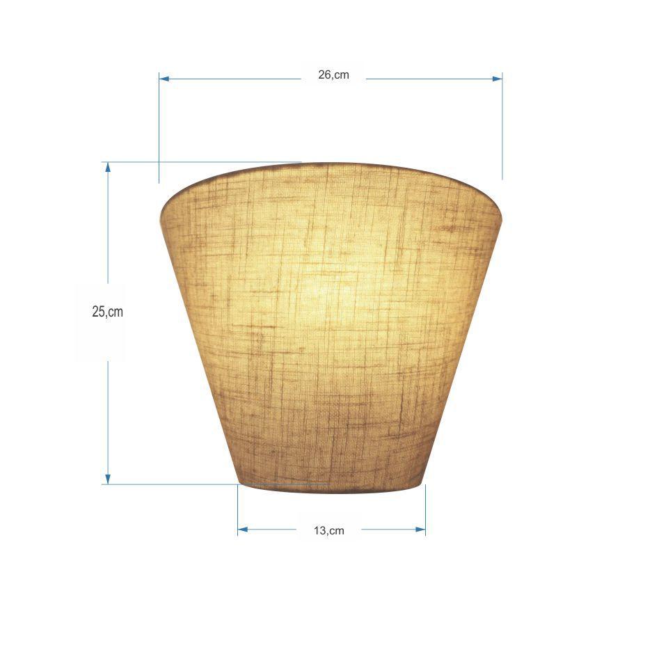 Kit/3 Arandela Retro Cone Md-2001 Cúpula Tecido 25/26x13cm Rustico Bege