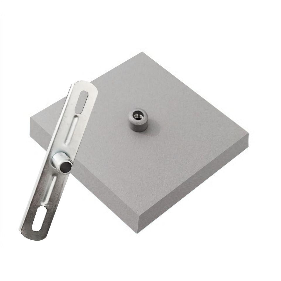 Kit/3 Canopla Lustre Pendente Quadrado Md-1005 12x12x2cm Cinza