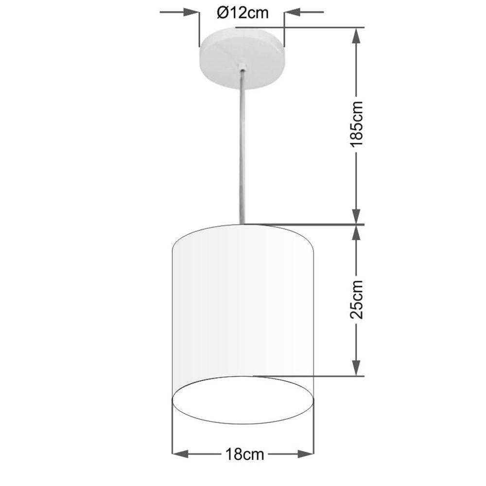 Kit/3 Lustre Pendente Cilíndrico Md-4012 Cúpula em Tecido 18x25cm Bordo - Bivolt