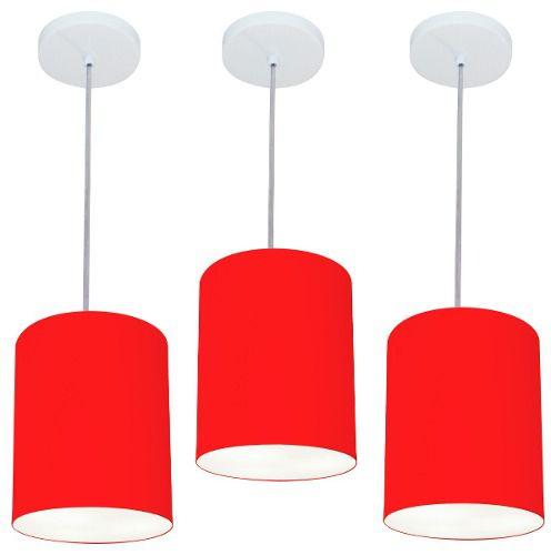 Kit/3 Lustre Pendente Cilíndrico Md-4012 Cúpula em Tecido 18x25cm Vermelho - Bivolt
