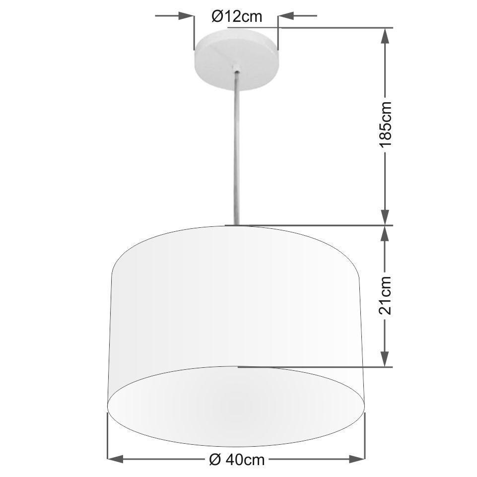 Kit/3 Lustre Pendente Cilíndrico Md-4031 Cúpula em Tecido 40x21cm Branco - Bivolt