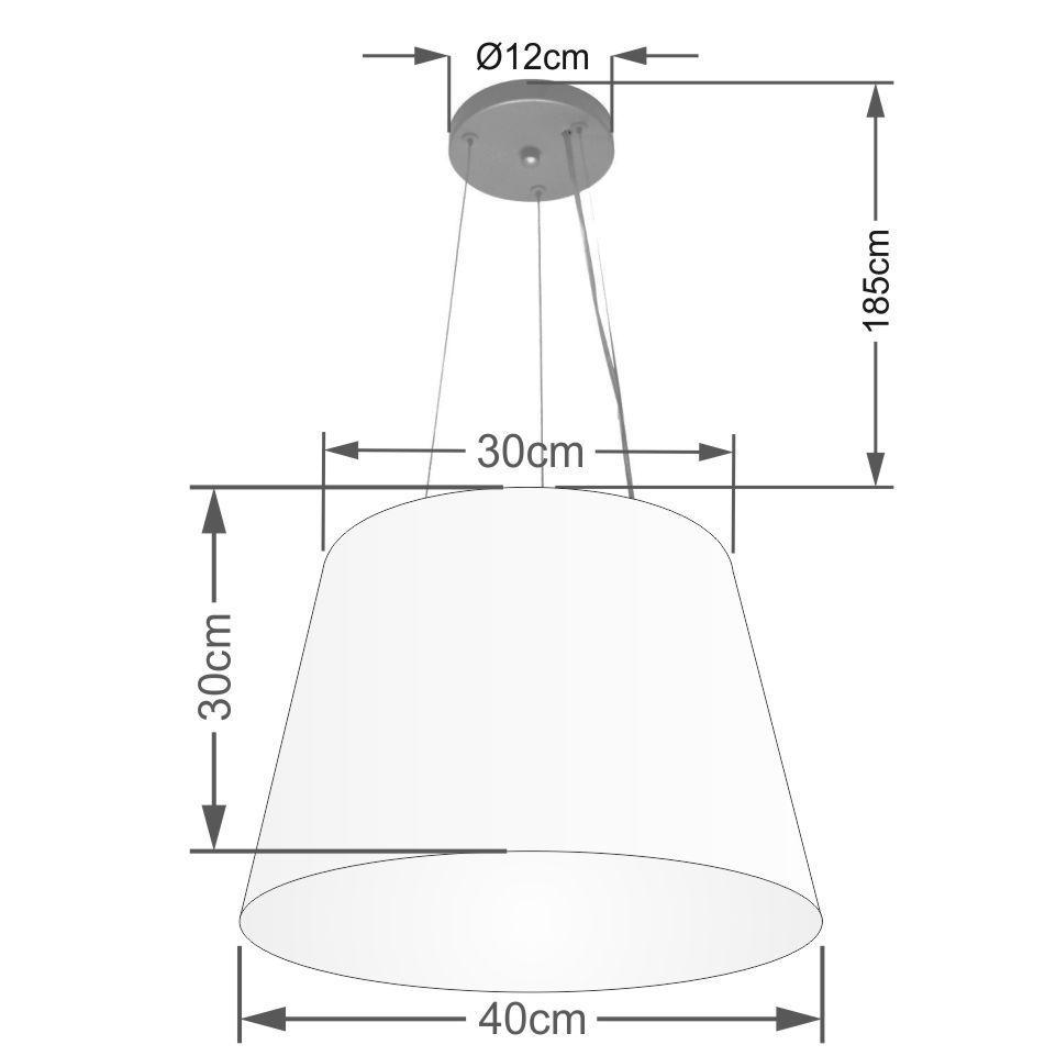 Kit/3 Lustre Pendente Cone Md-4152 Cúpula em Tecido 30/40x30cm Preto - Bivolt