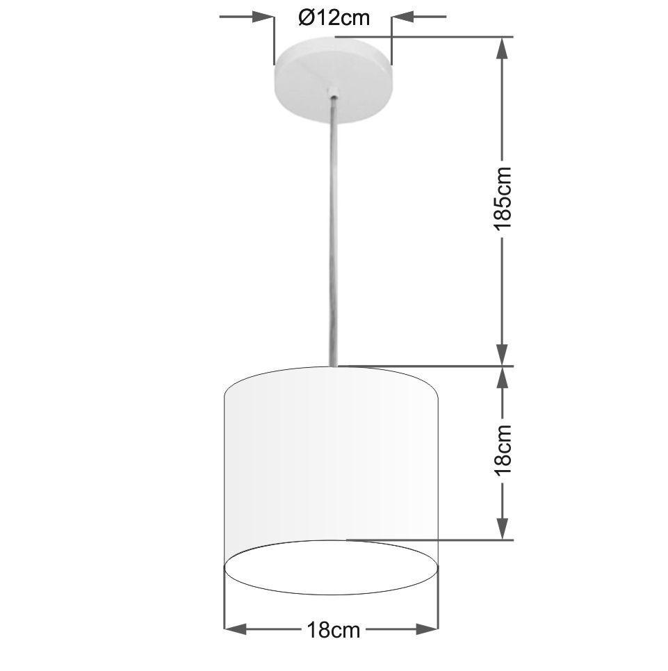 Kit/3 Pendente Cilíndrico Md-4046 Cúpula em Tecido 18x18cm Branco - Bivolt