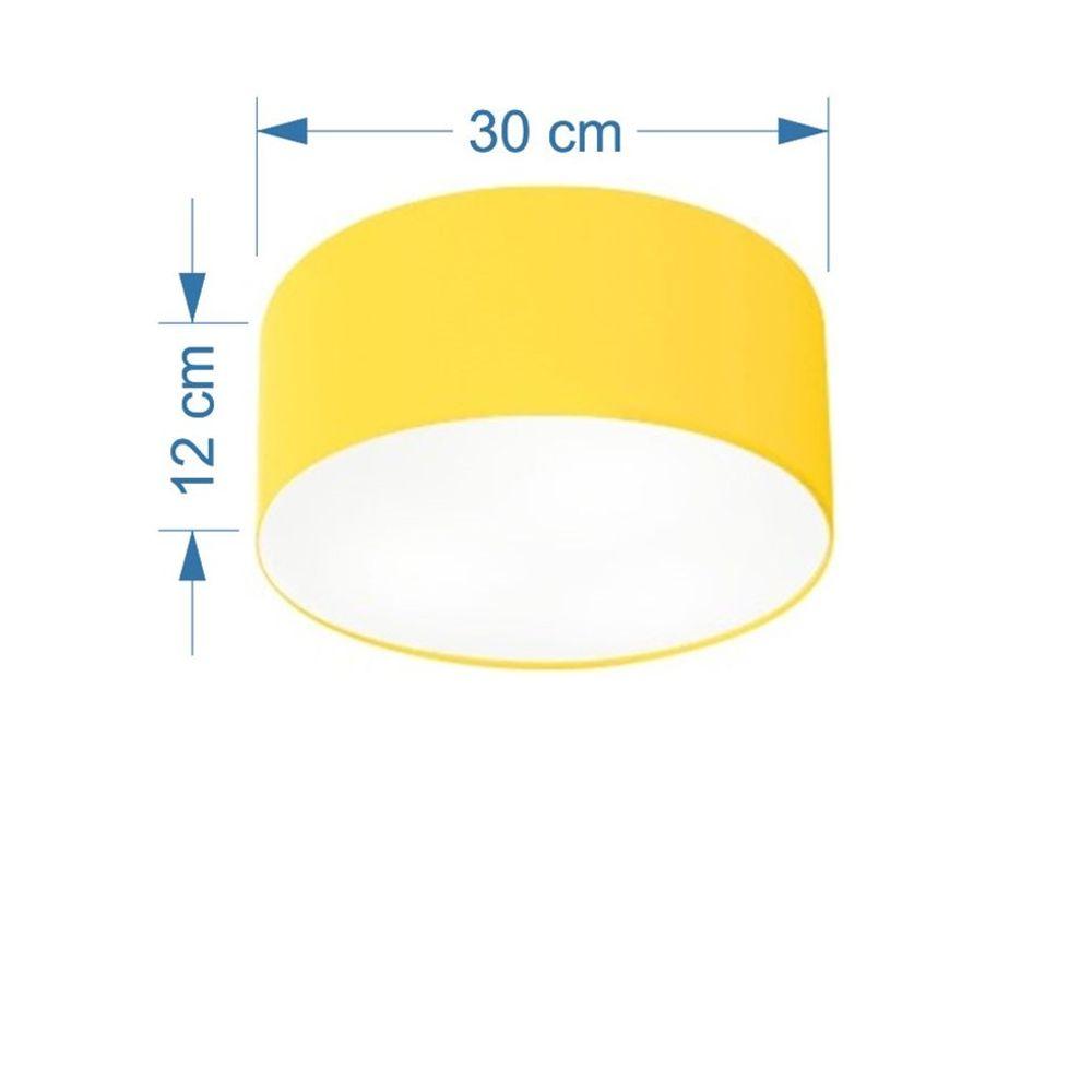 Kit/3 Plafon Cilíndrico Md-3010 Cúpula em Tecido 30x12cm Amarelo - Bivolt