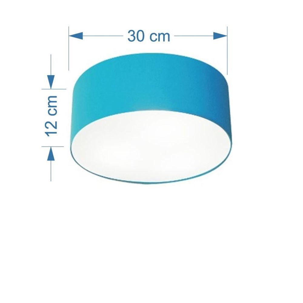 Kit/3 Plafon Cilíndrico Md-3010 Cúpula em Tecido 30x12cm Azul Turquesa - Bivolt
