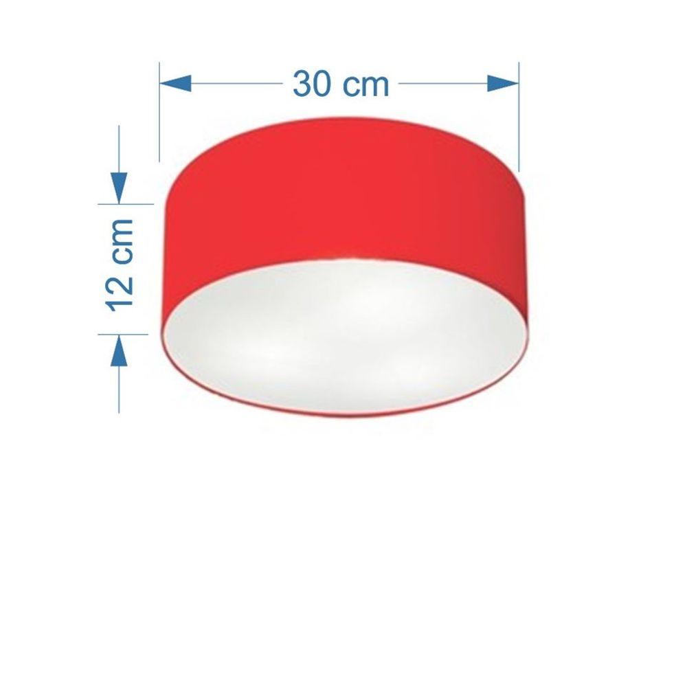 Kit/3 Plafon Cilíndrico Md-3010 Cúpula em Tecido 30x12cm Vermelho - Bivolt
