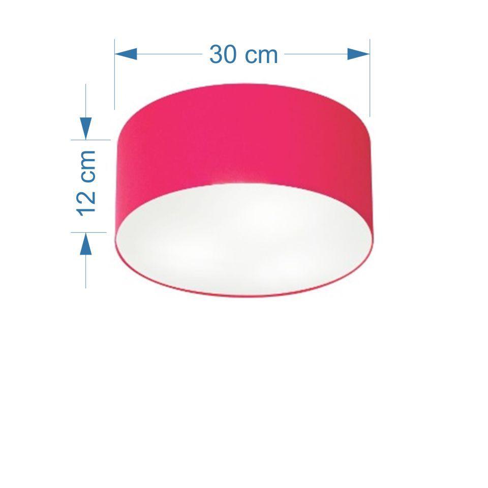 Kit/3 Plafon Cilíndrico Md-3010 Cúpula Tecido 30x12cm Rosa Pink
