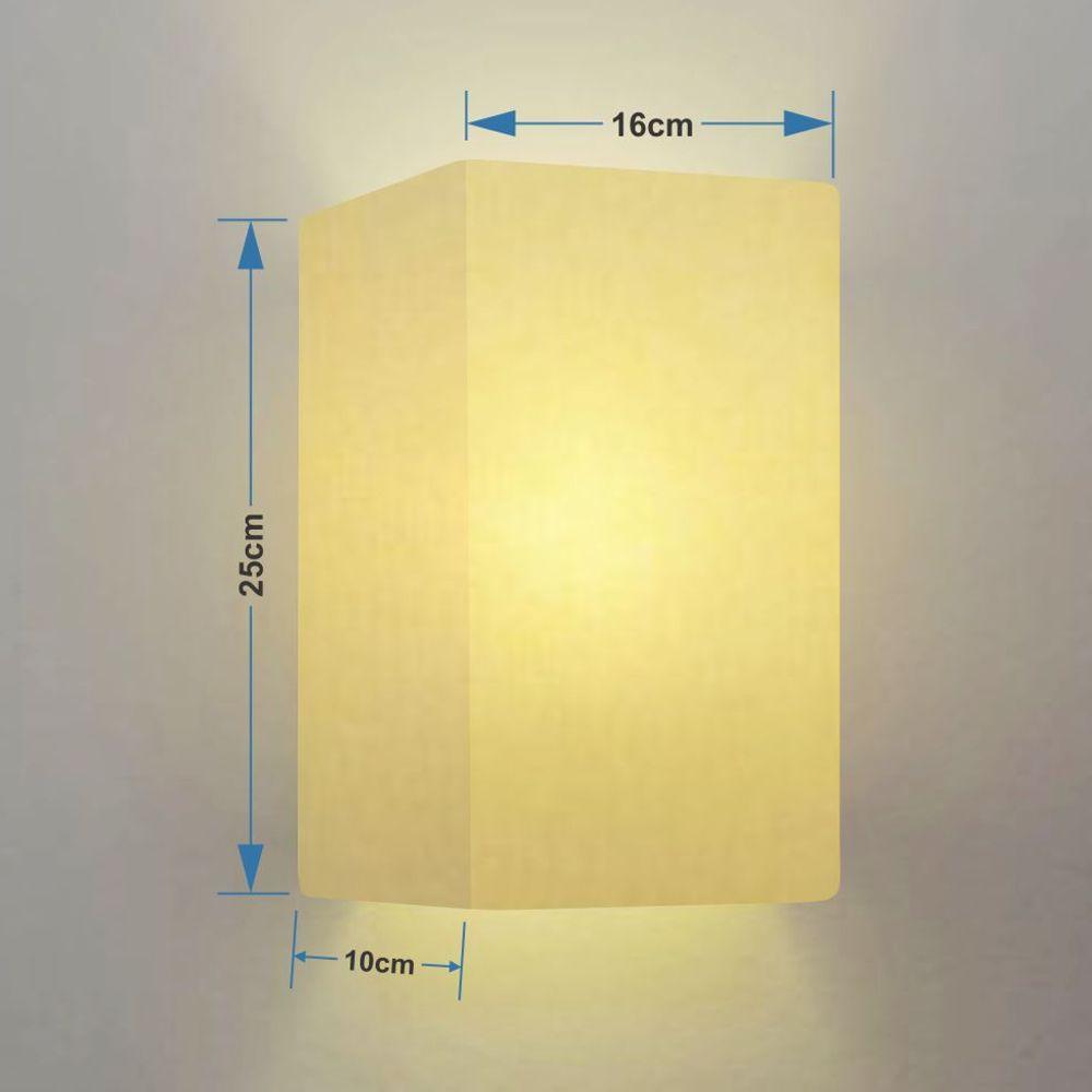 Kit/4 Arandela Retangular Retro Md-2002 Cúpula em Tecido 25/16x10cm Algodão Crú - Bivolt