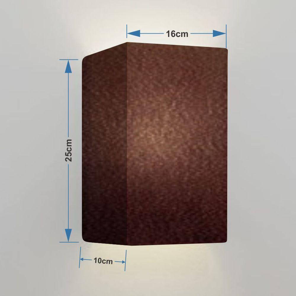Kit/4 Arandela Retangular Retro Md-2002 Cúpula em Tecido 25/16x10cm Café - Bivolt