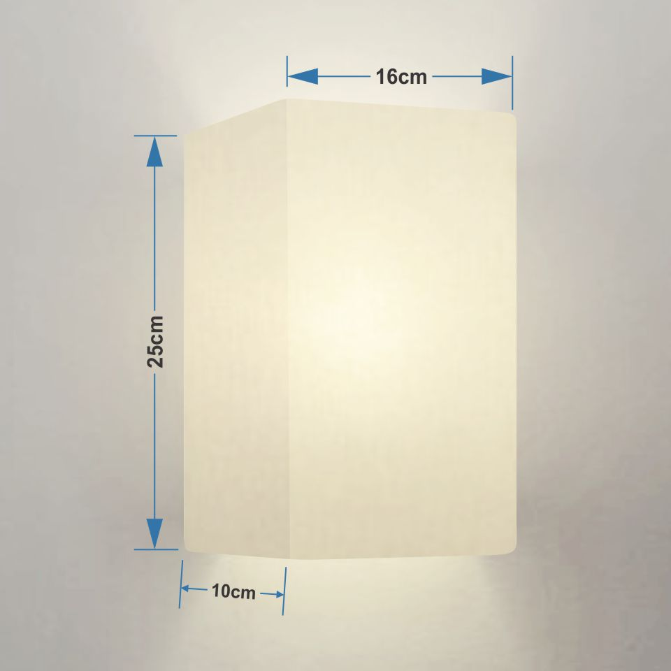 Kit/4 Arandela Retangular Retro Md-2002 Cúpula em Tecido 25/16x10cm Branco - Bivolt
