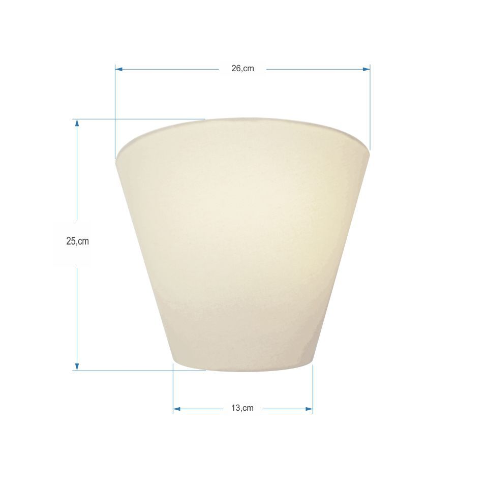 Kit/4 Arandela Retro Cone Md-2001 Cúpula em Tecido 25/26x13cm Branco - Bivolt