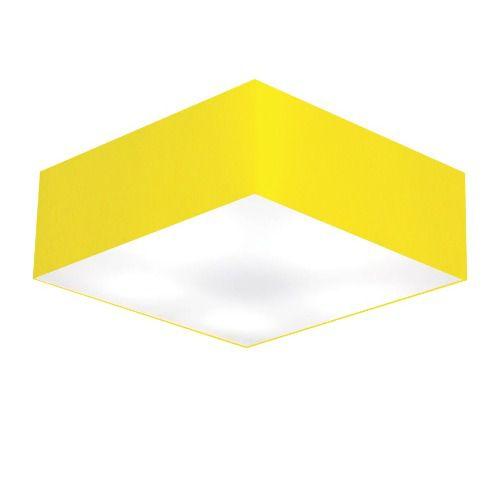 Kit/4 Plafon Quadrado Md-3002 Cúpula em Tecido 15/50x50cm Amarelo - Bivolt