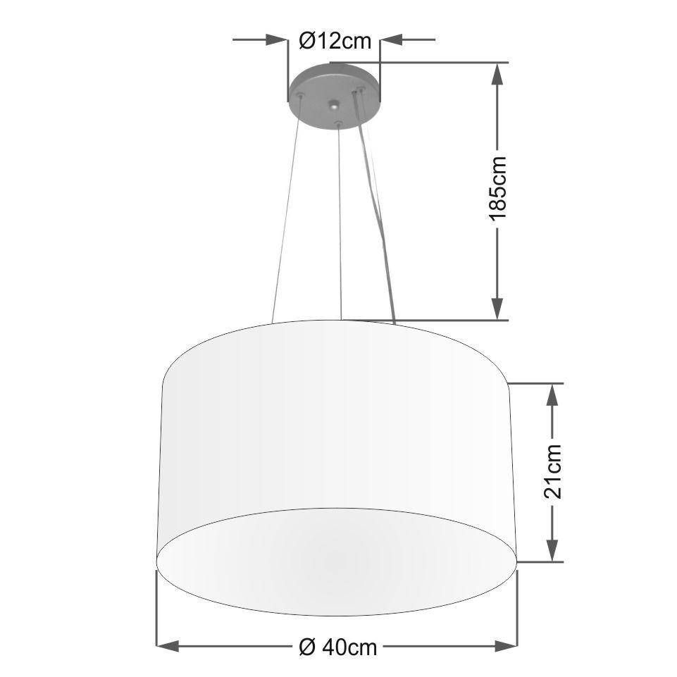 Kit/5 Lustre Pendente Cilíndrico Md-4009 Cúpula em Tecido 40x21cm Algodão Crú - Bivolt