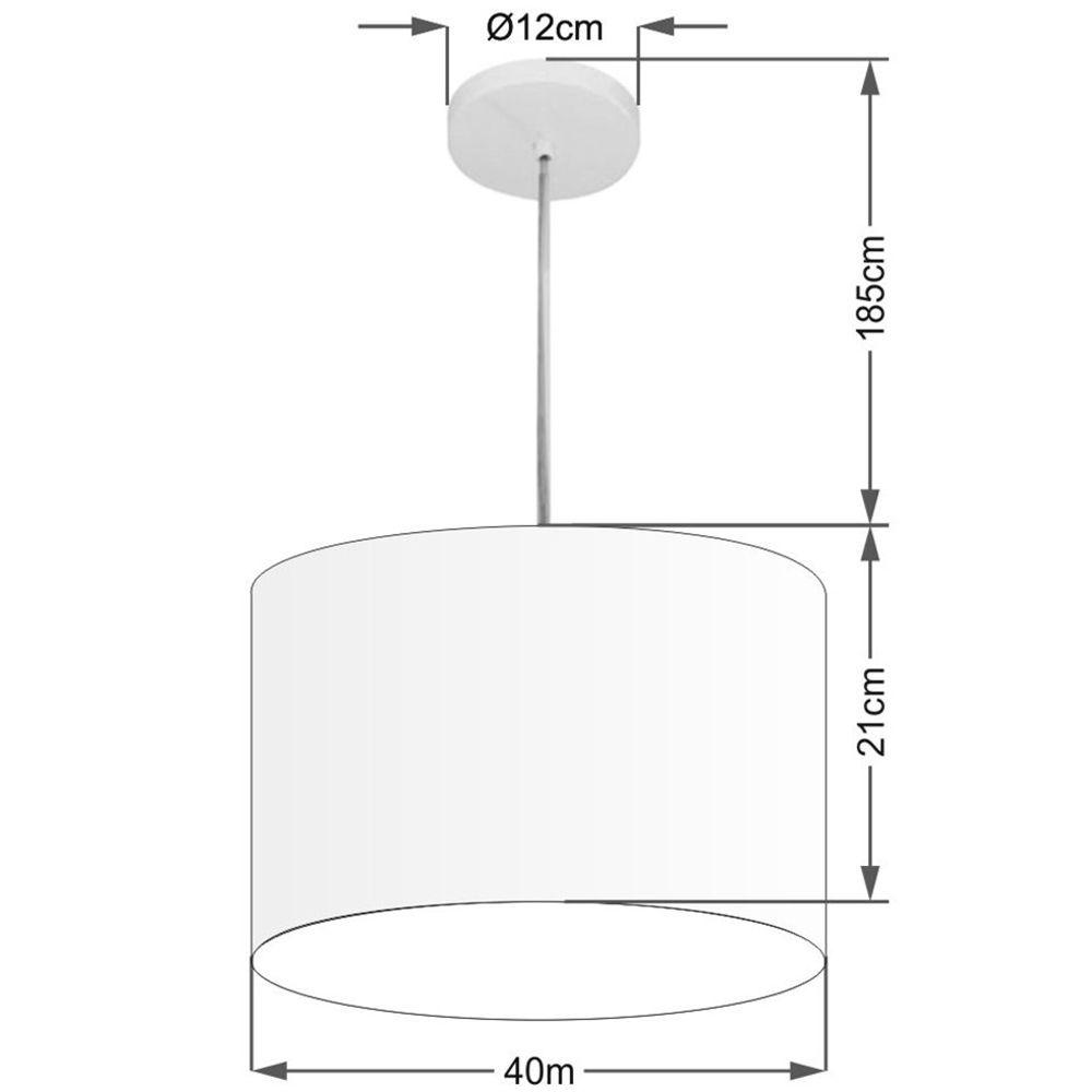Kit/6 Lustre Pendente Cilíndrico Md-4031 Cúpula em Tecido 40x21cm Branco - Bivolt